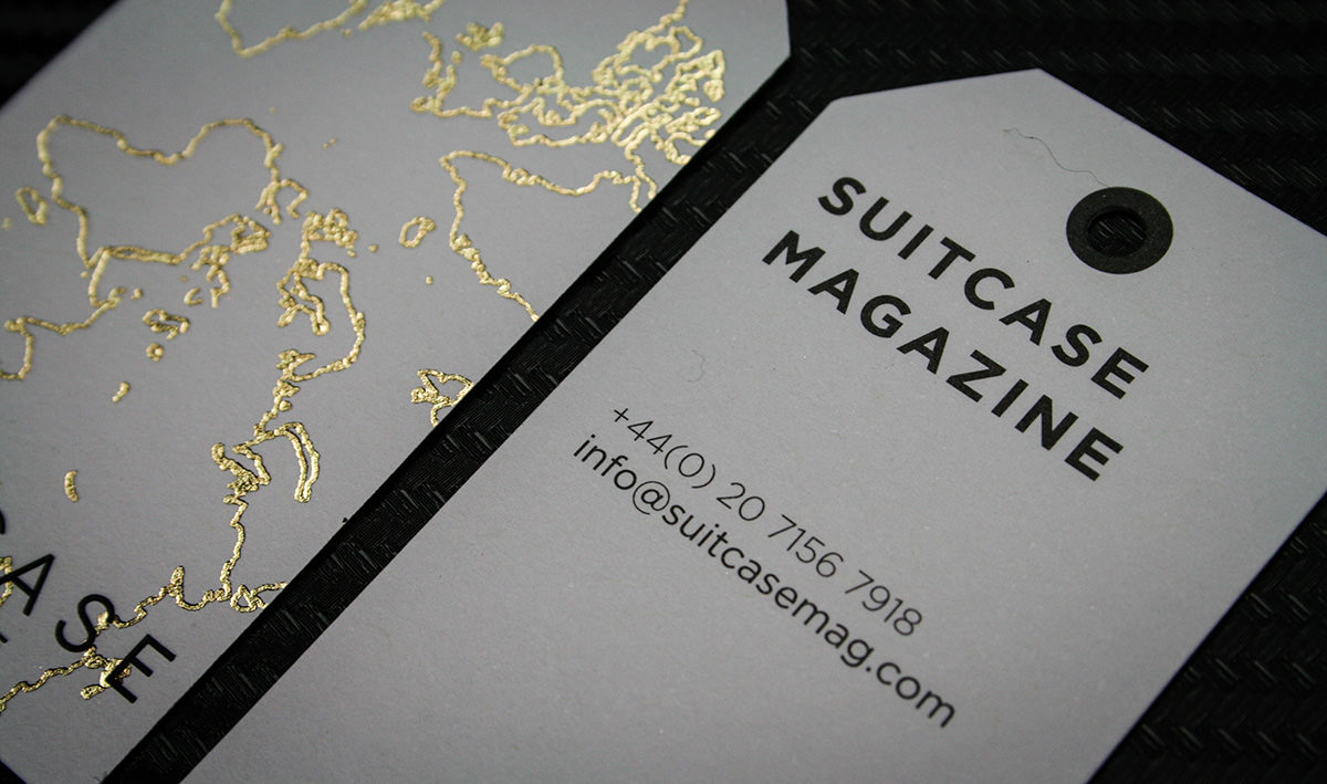 Foil printed bespoke business cards for suitcase magazine bespoke printing suitcase business card tags 12 magicingreecefo Choice Image