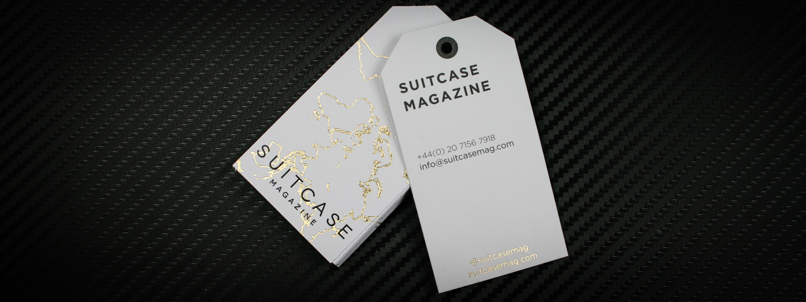 Foil Printed Bespoke Business Cards for Suitcase Magazine
