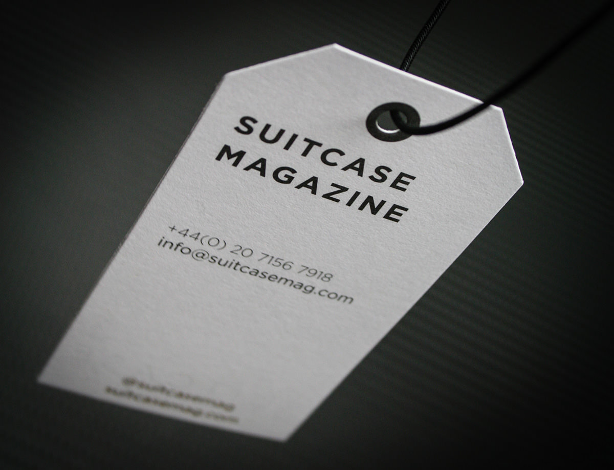 Foil printed bespoke business cards for suitcase magazine bespoke printing suitcase business card tags 3 magicingreecefo Choice Image