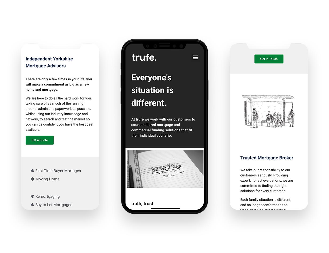 Mobile device screenshot of trufe.co.uk