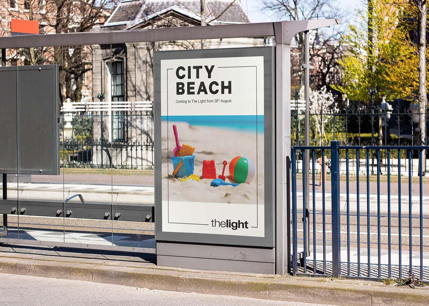 the light, city beach poster design